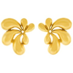 1970s Pop Art Gold Earrings