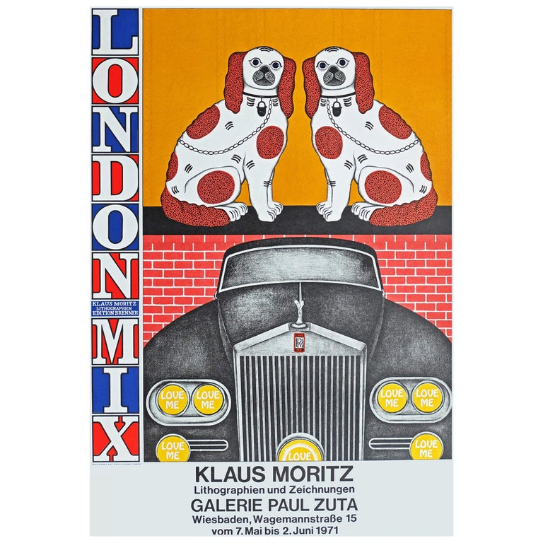 Original 1971 promotional poster for the Klaus Moritz 'London Mix' lithograph series at the Paul Zuta Gallery, Germany.  First edition color offset lithograph.  Rolled.  Measures: L 84 cm x W 58 cm.