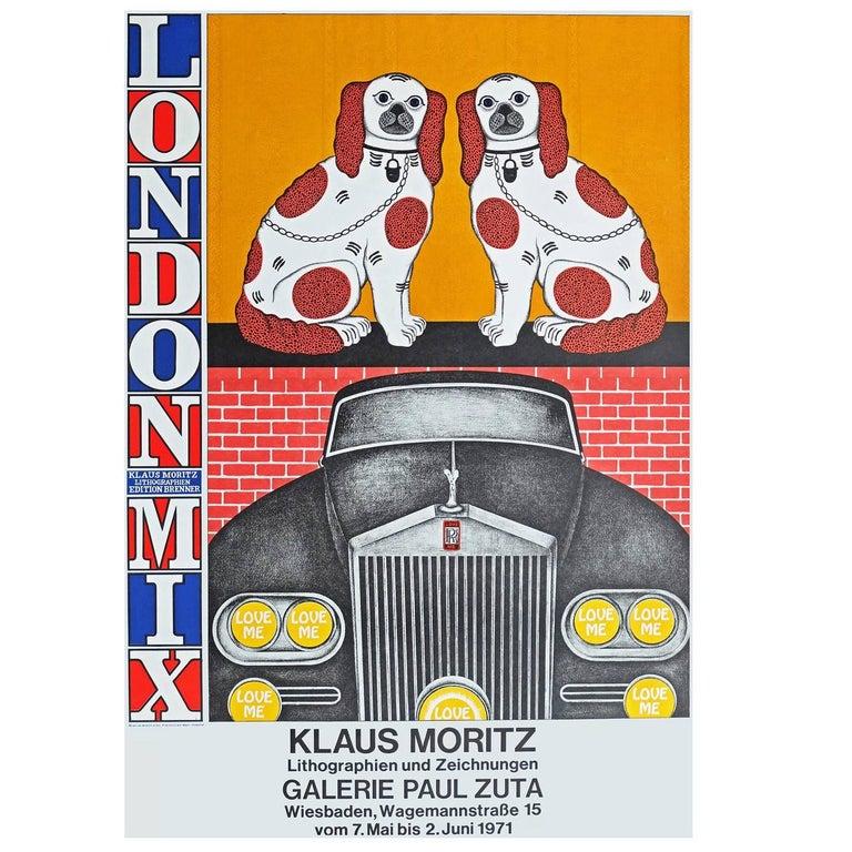 Modern 1970s Poster for Klaus Moritz London Mix Exhibition Pop Art For Sale