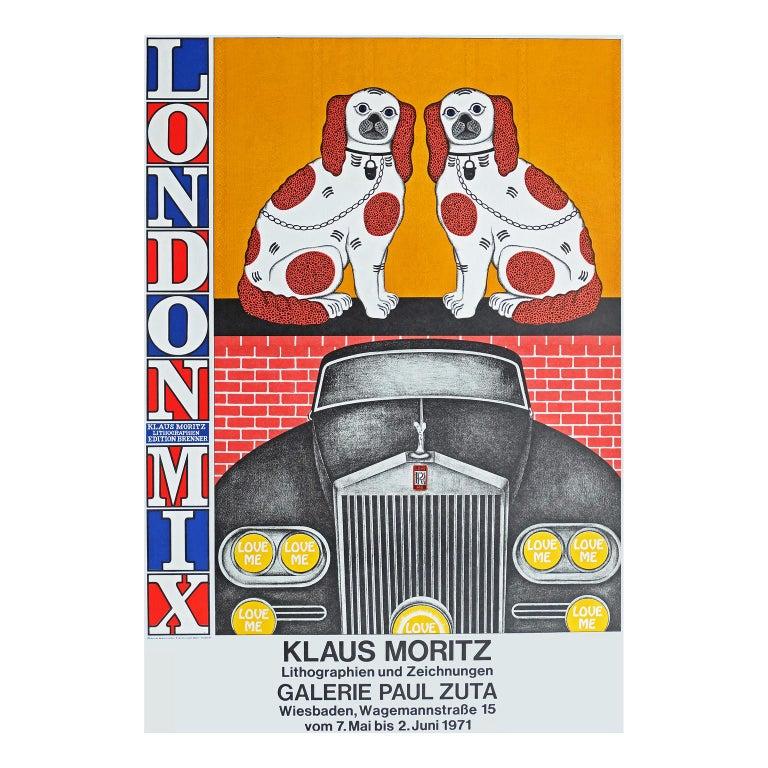 German 1970s Poster for Klaus Moritz London Mix Exhibition Pop Art For Sale