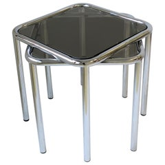 1970s Postmodern Tubular Chrome and Glass Side Nesting Stacking Tables