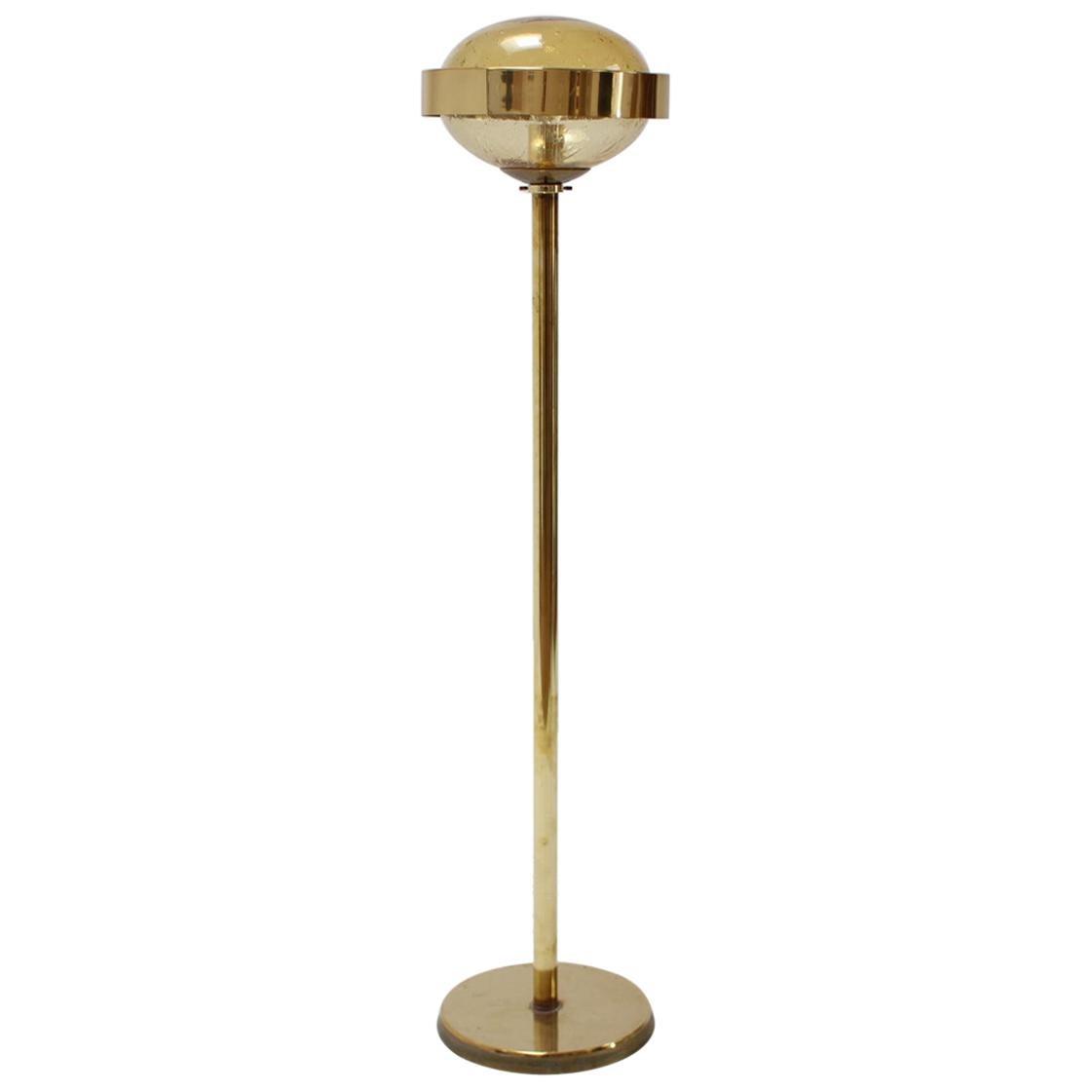 1970s Preciosa Gold Floor Lamp, Czechoslovakia