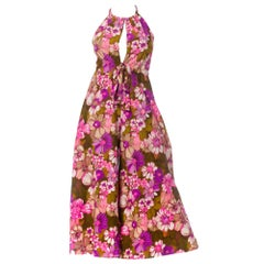 1970S Printed Floral Polyester Dress In Pinks & Purples