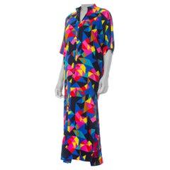 1970S Printed Multicolor Cotton Barkcloth Geometric  Kaftan