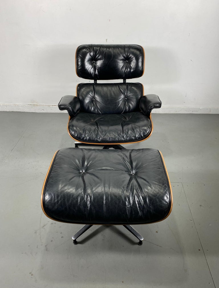 1970s Production Eames 670 & 671 Rosewood and Leather Lounge Chair Herman Miller 8