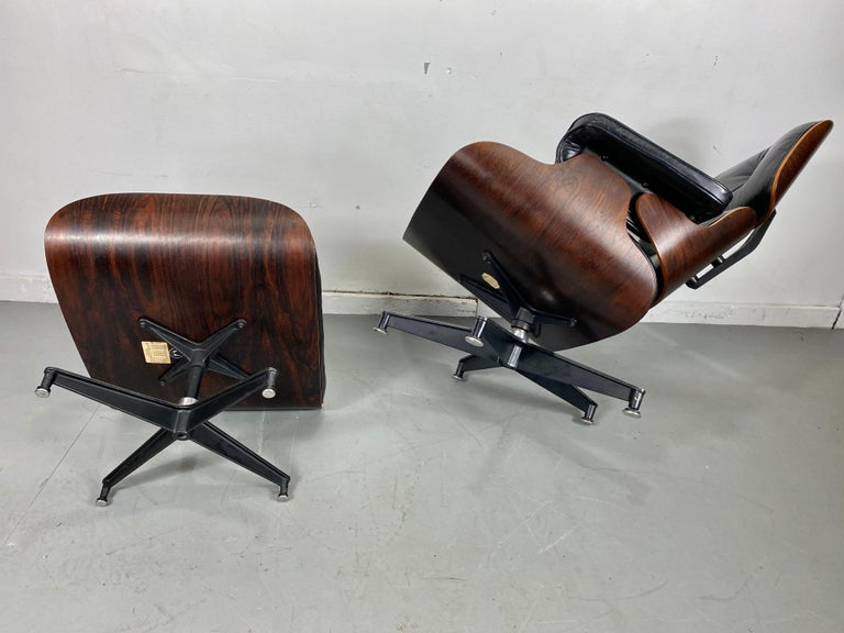 1970s Production Eames 670 & 671 Rosewood and Leather Lounge Chair Herman Miller 11