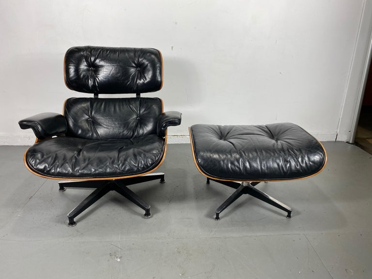 American 1970s Production Eames 670 & 671 Rosewood and Leather Lounge Chair Herman Miller