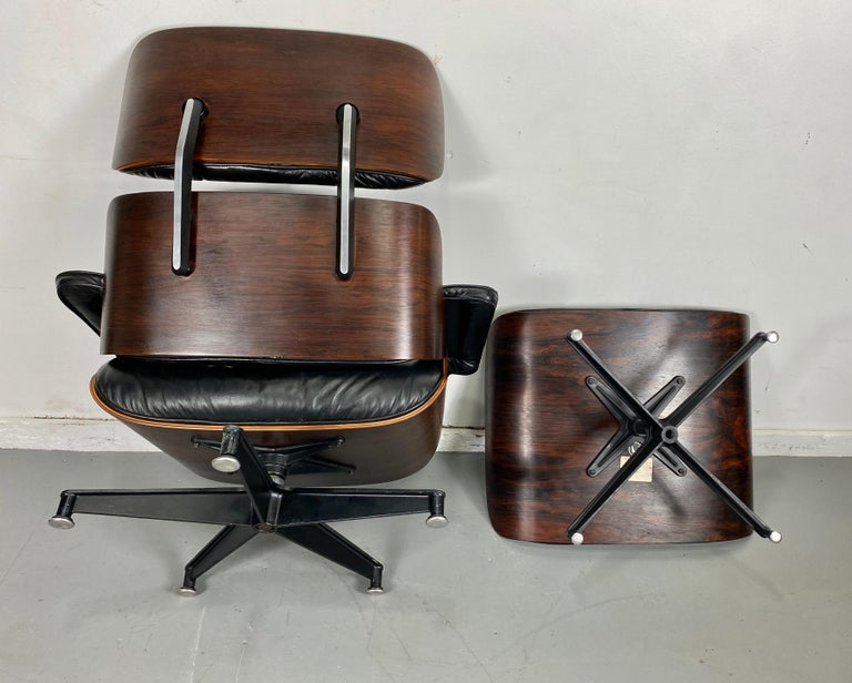 1970s Production Eames 670 & 671 Rosewood and Leather Lounge Chair Herman Miller 1