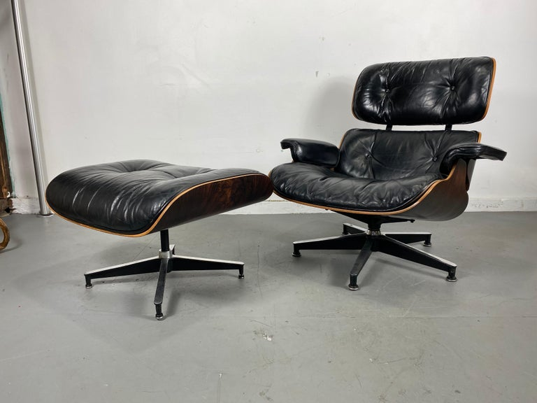 1970s Production Eames 670 & 671 Rosewood and Leather Lounge Chair Herman Miller 2