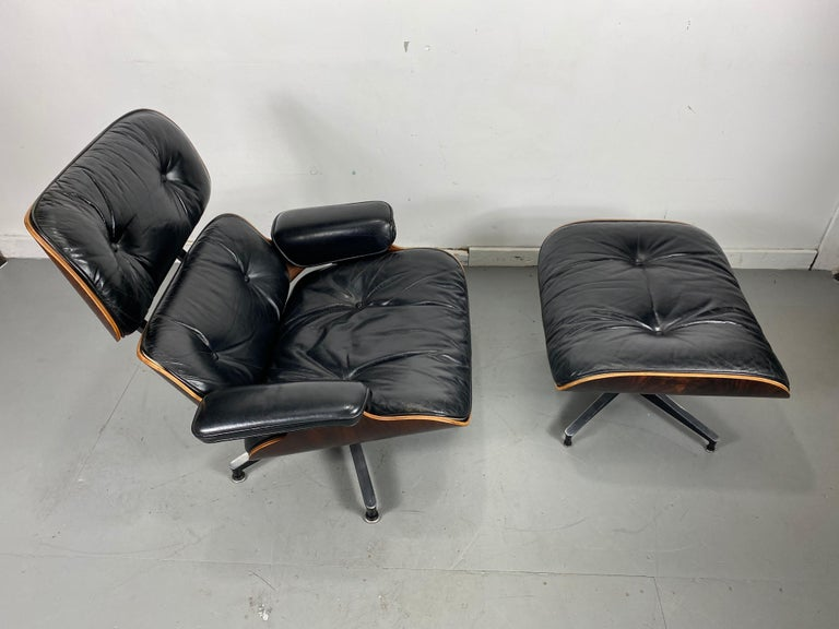 1970s Production Eames 670 & 671 Rosewood and Leather Lounge Chair Herman Miller 3