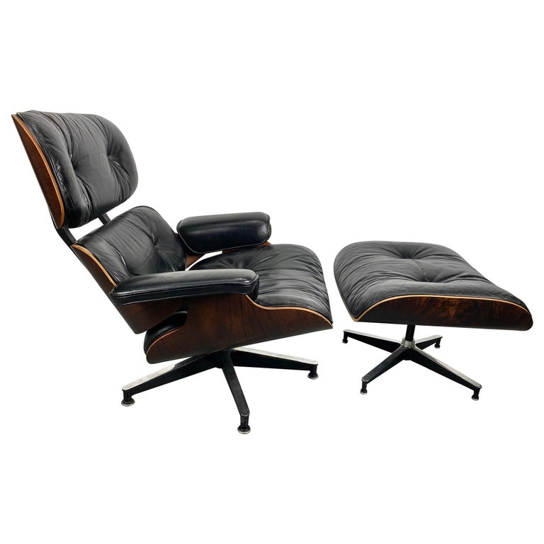 1970s Production Eames 670 & 671 Rosewood and Leather Lounge Chair Herman Miller