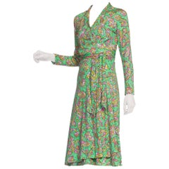 1970's Psychedelic Paisley Jersey Wrap Dress
