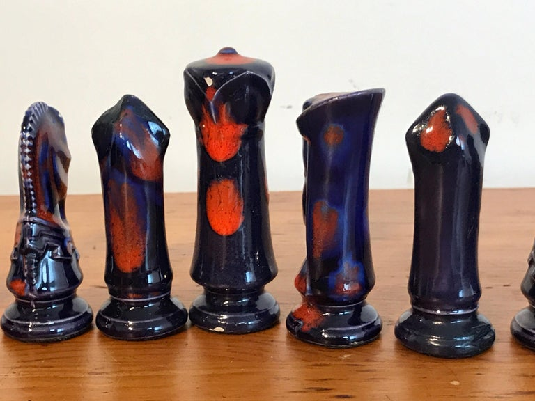 1970s Psychedelic Studio Pottery Chess Set For Sale 4