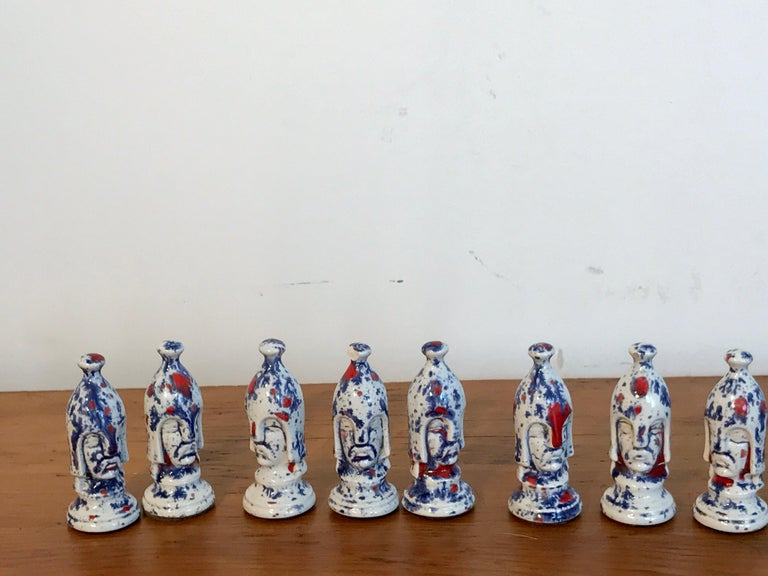 20th Century 1970s Psychedelic Studio Pottery Chess Set For Sale