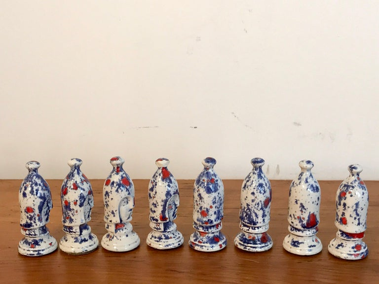 Porcelain 1970s Psychedelic Studio Pottery Chess Set For Sale