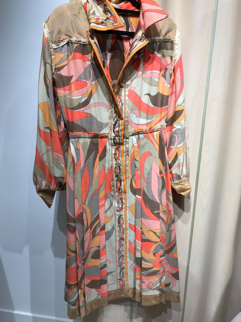 1970s Pucci Orange, Pink and Brown Print Wool Shirt Dress For Sale 6