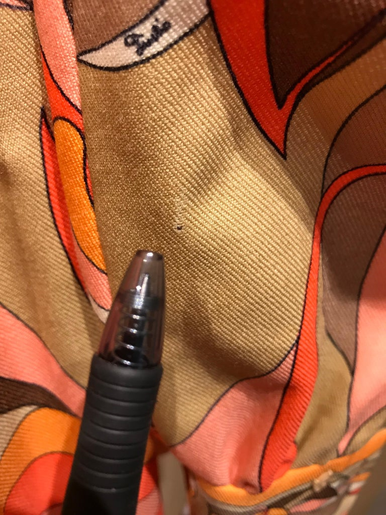 1970s Pucci Orange, Pink and Brown Print Wool Shirt Dress For Sale 8