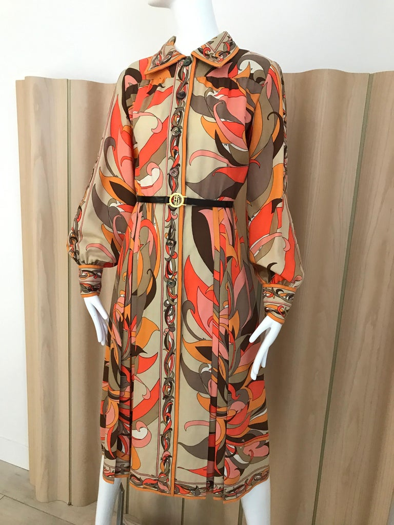 1970s Pucci Orange, Pink and Brown Print Wool Shirt Dress In Good Condition For Sale In Beverly Hills, CA