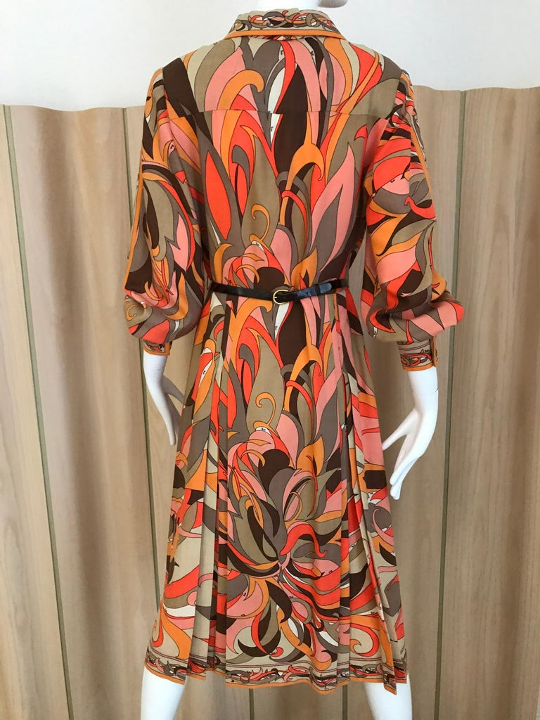 Women's 1970s Pucci Orange, Pink and Brown Print Wool Shirt Dress For Sale