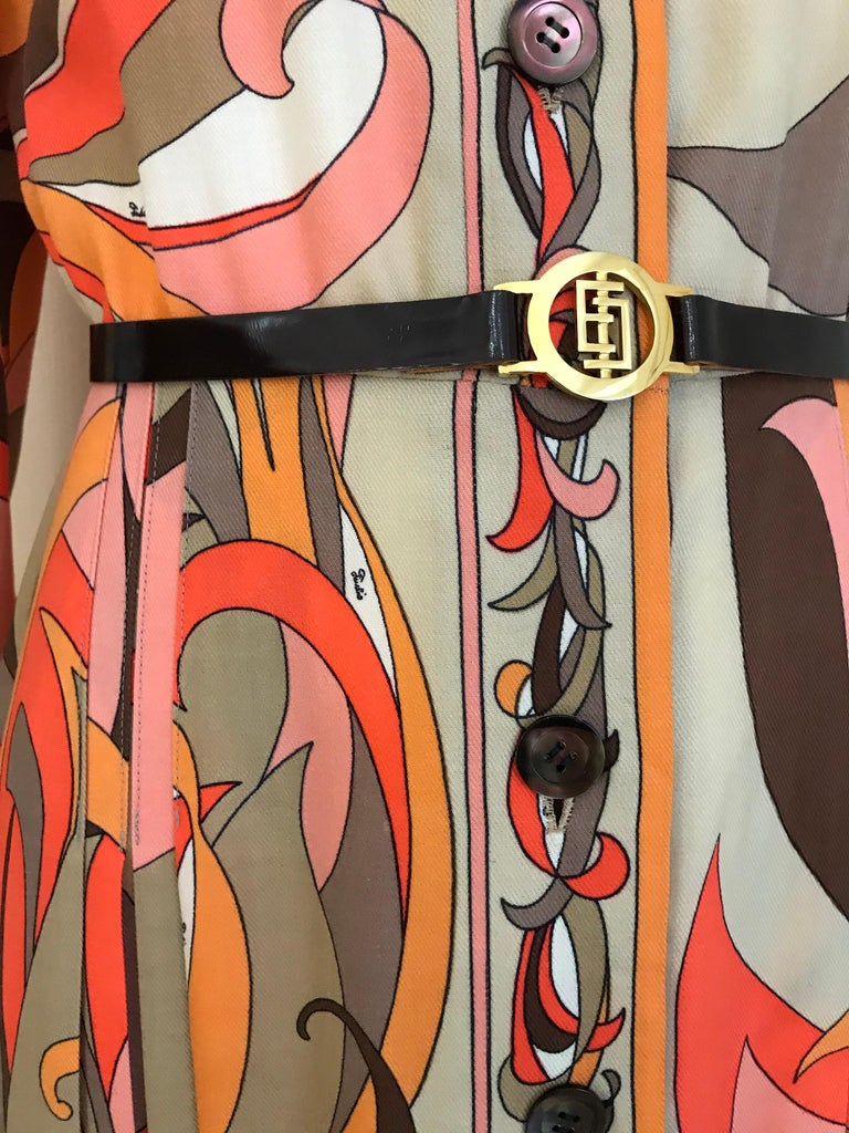1970s Pucci Orange, Pink and Brown Print Wool Shirt Dress For Sale 2
