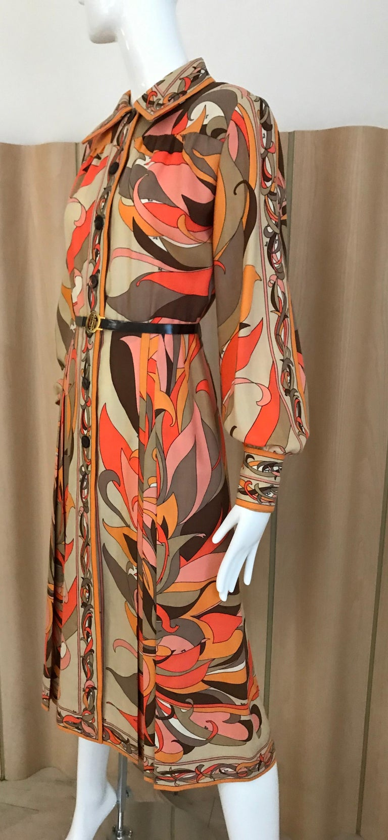 1970s Pucci Orange, Pink and Brown Print Wool Shirt Dress For Sale 3
