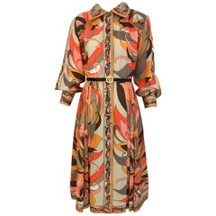 1970s Pucci Orange, Pink and Brown Print Wool Shirt Dress