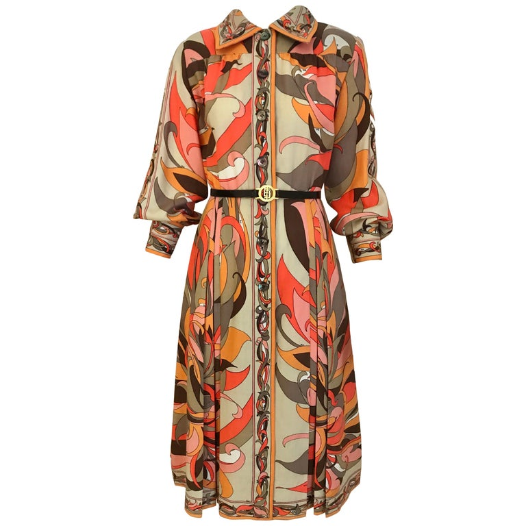 1970s Pucci Orange, Pink and Brown Print Wool Shirt Dress For Sale