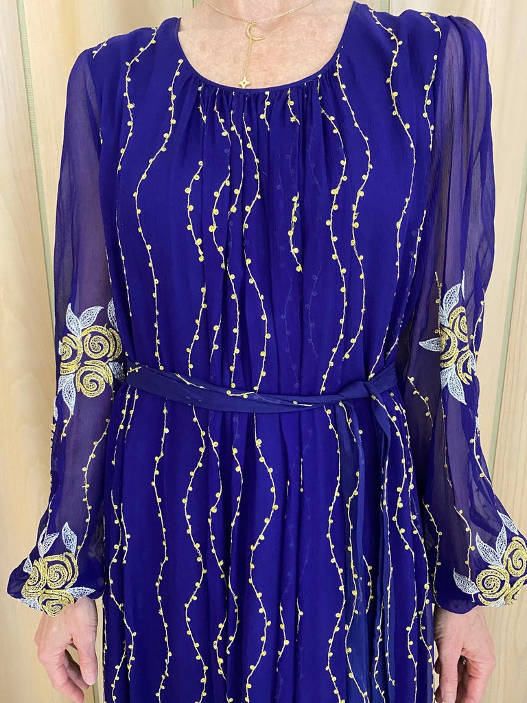 1970s Purple and Gold Silk Maxi Gown In Excellent Condition For Sale In Beverly Hills, CA