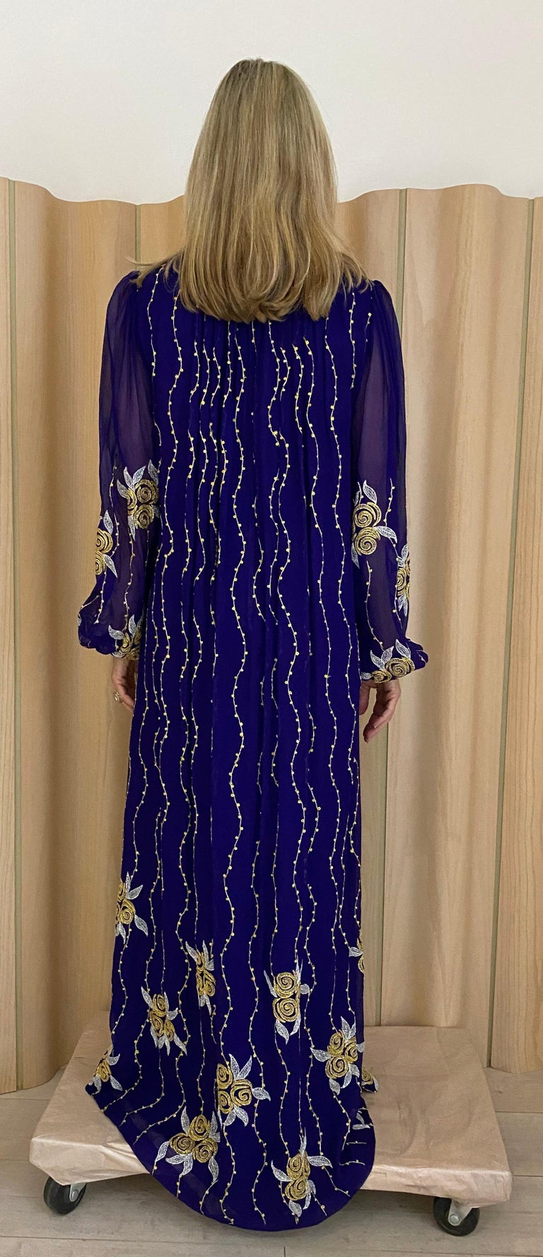 Women's 1970s Purple and Gold Silk Maxi Gown For Sale