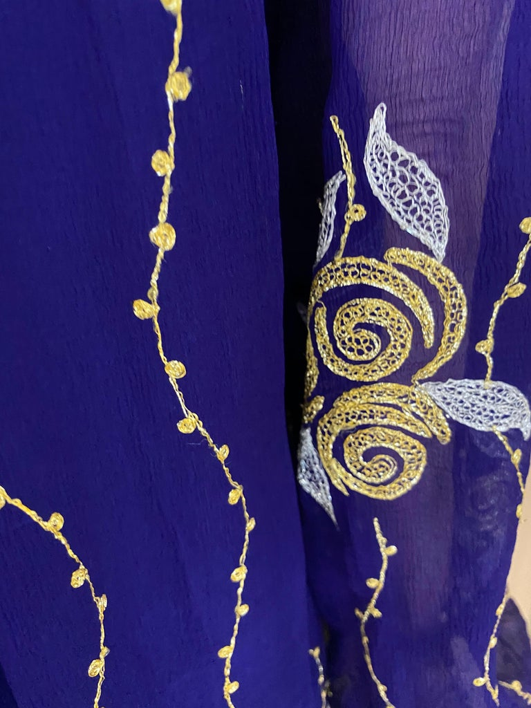 1970s Purple and Gold Silk Maxi Gown For Sale 2