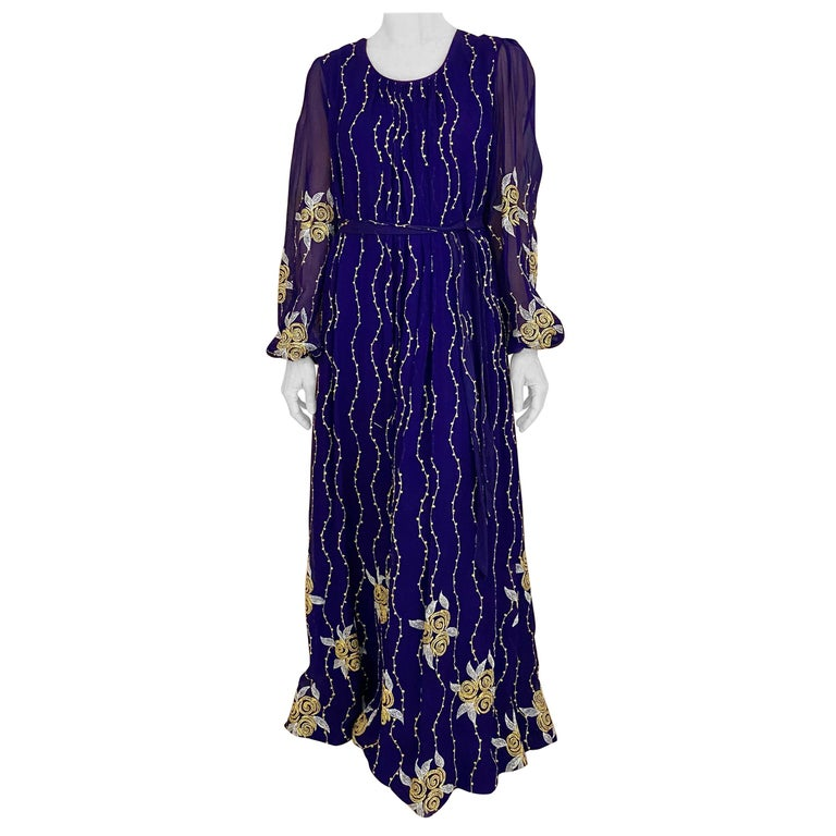 1970s Purple and Gold Silk Maxi Gown For Sale