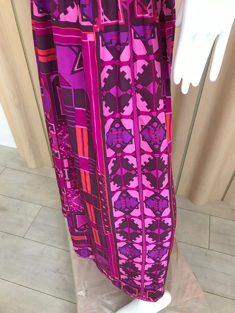 Women's 1970s Purple and Magenta Silk Spaghetti Straps Maxi Dress For Sale