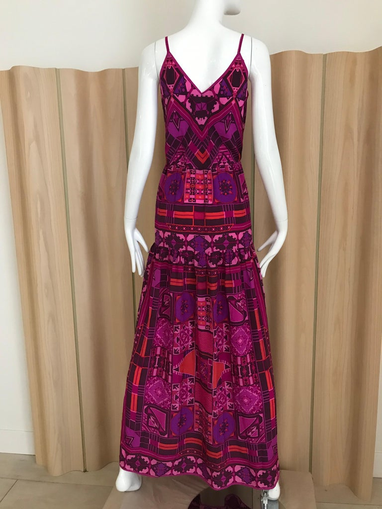 1970s Purple and Magenta Silk Spaghetti Straps Maxi Dress For Sale 1