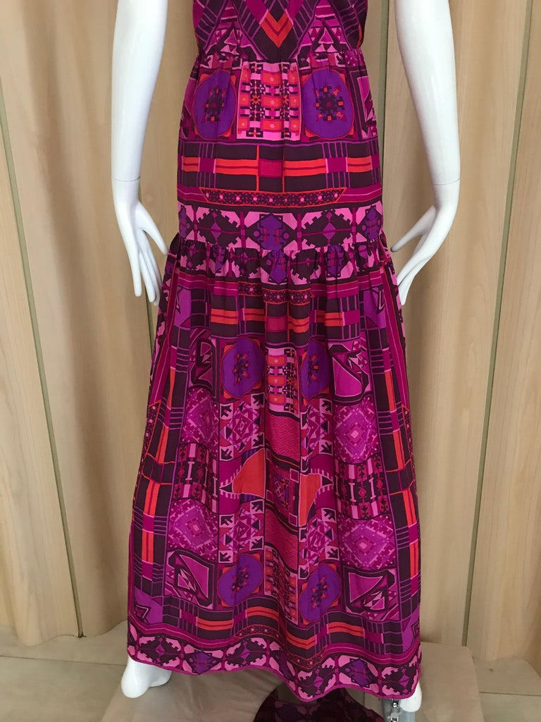 1970s Purple and Magenta Silk Spaghetti Straps Maxi Dress For Sale 2