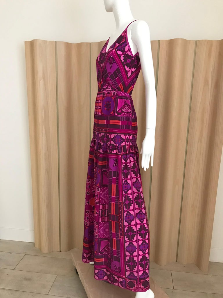 1970s Purple and Magenta Silk Spaghetti Straps Maxi Dress For Sale 3