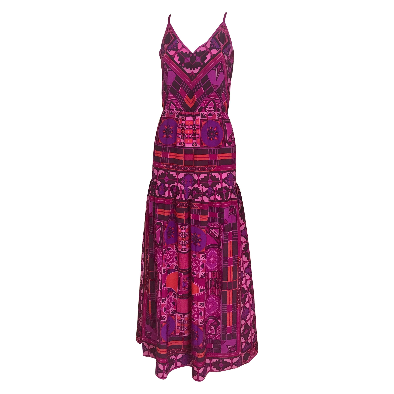 1970s Purple and Magenta Silk Spaghetti Straps Maxi Dress