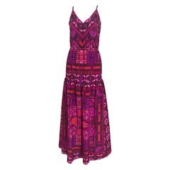 1970s Purple and Magenta Silk Spaghetti Straps Maxi Dress