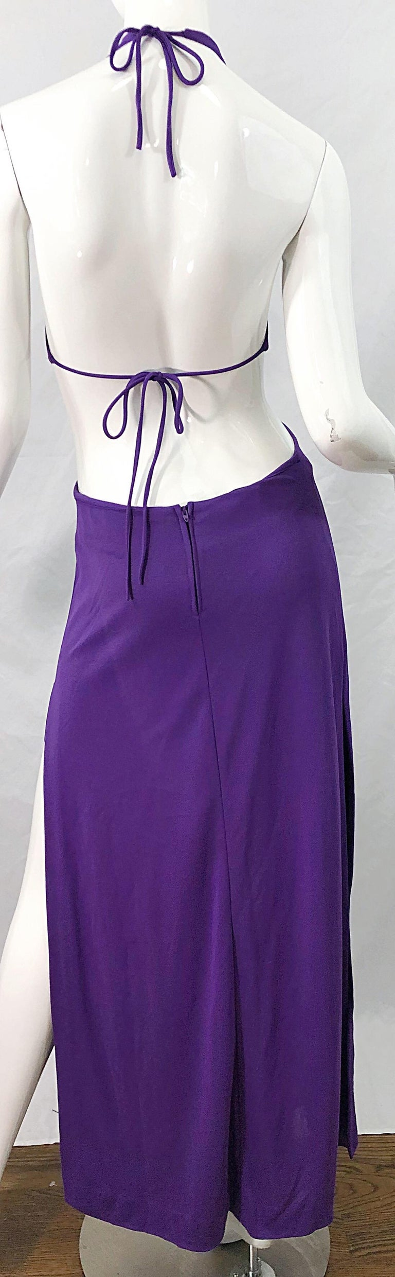 1970s Purple Cut - Out Sexy Jersey Vintage 70s Halter Maxi Dress Gown For Sale 6