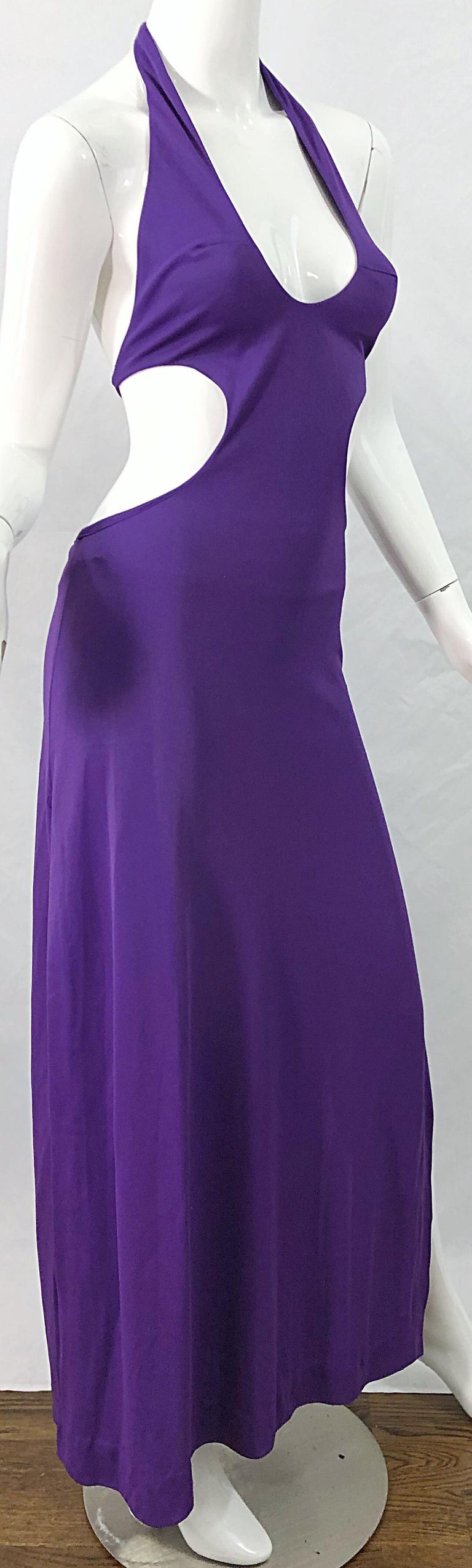 1970s Purple Cut - Out Sexy Jersey Vintage 70s Halter Maxi Dress Gown For Sale 7