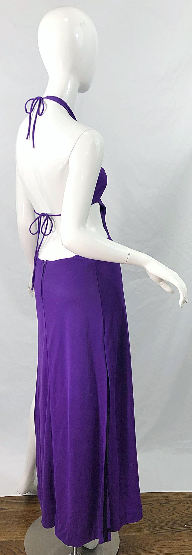 1970s Purple Cut - Out Sexy Jersey Vintage 70s Halter Maxi Dress Gown For Sale 8