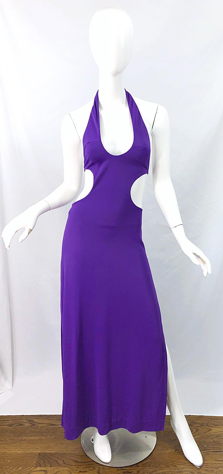 1970s Purple Cut - Out Sexy Jersey Vintage 70s Halter Maxi Dress Gown For Sale 9