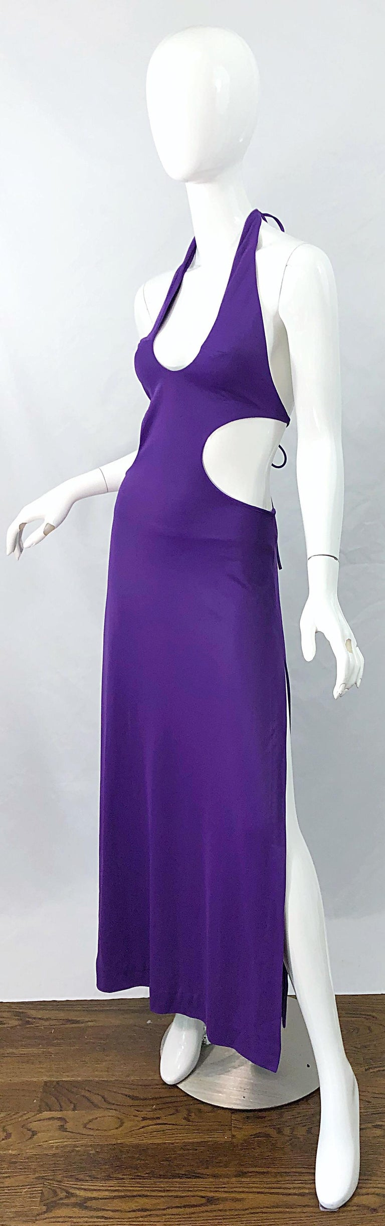 1970s Purple Cut - Out Sexy Jersey Vintage 70s Halter Maxi Dress Gown For Sale 1