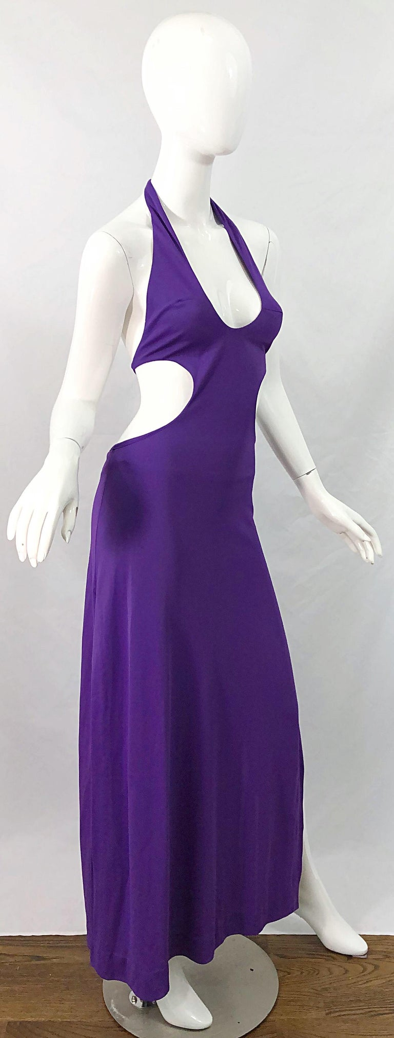 1970s Purple Cut - Out Sexy Jersey Vintage 70s Halter Maxi Dress Gown For Sale 2