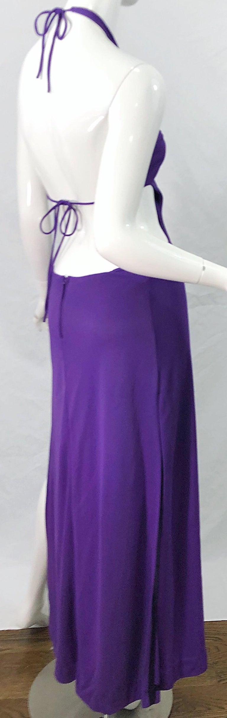 1970s Purple Cut - Out Sexy Jersey Vintage 70s Halter Maxi Dress Gown For Sale 3