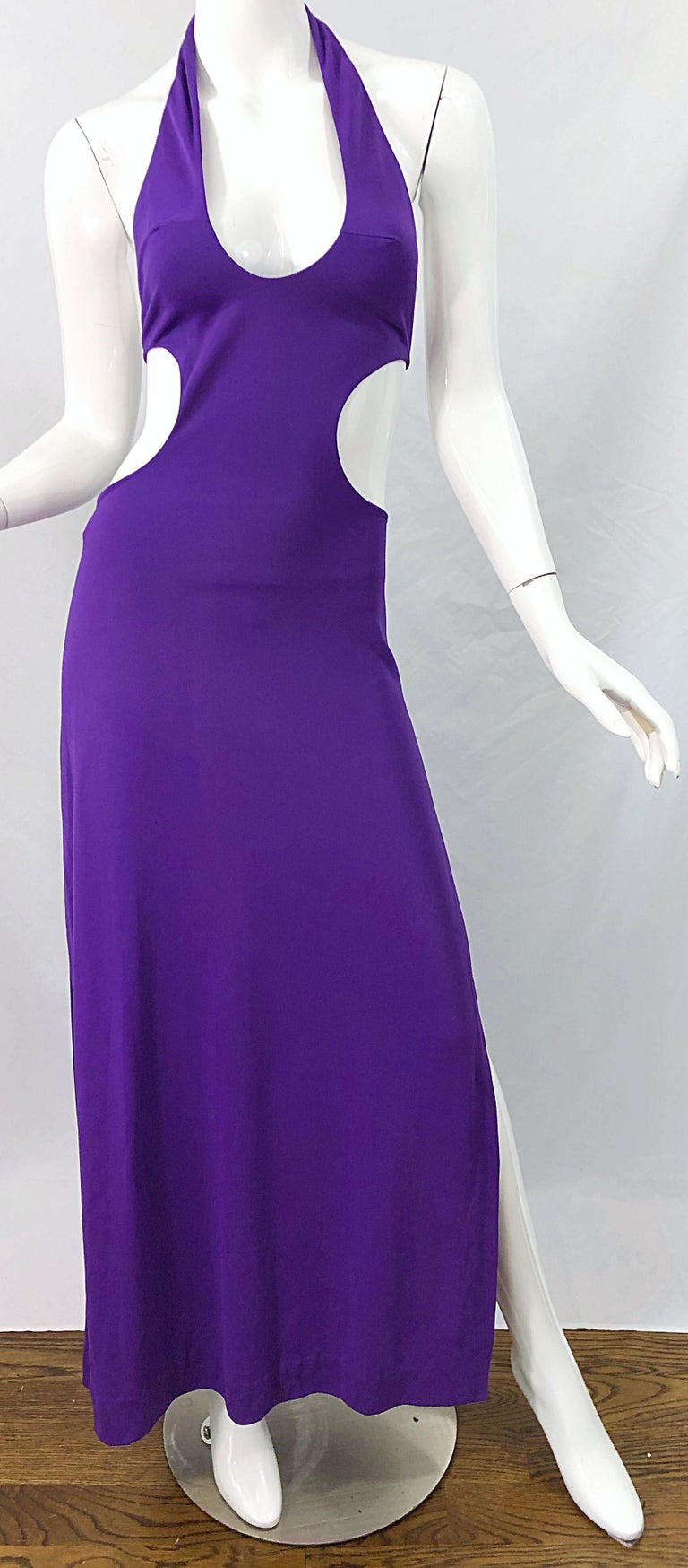 1970s Purple Cut - Out Sexy Jersey Vintage 70s Halter Maxi Dress Gown For Sale 4