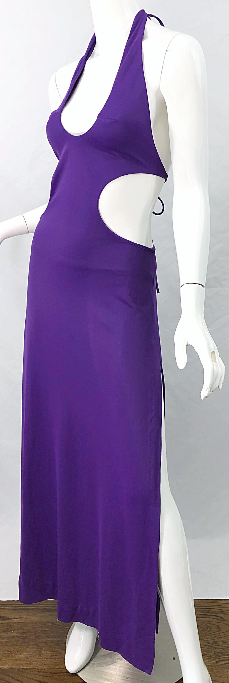 1970s Purple Cut - Out Sexy Jersey Vintage 70s Halter Maxi Dress Gown For Sale 5