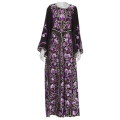 1970S Purple Embroidered  Metallic Floral Dress1970S Purple Embroidered  Metalli
