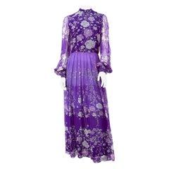 1970s Purple Floral Printed Custom-made Dress