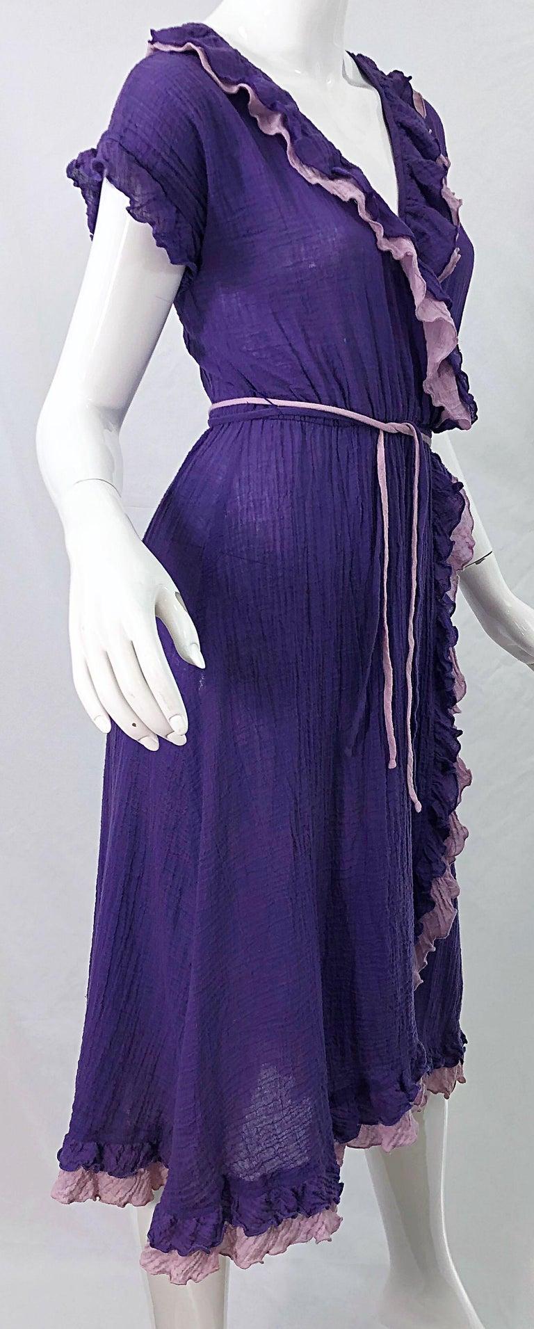 1970s Purple Lavender Lightweight Cotton Voile Vintage 70s Wrap Dress For Sale 6