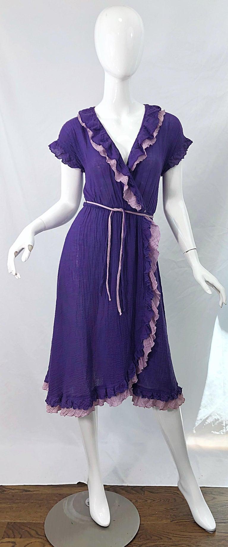1970s Purple Lavender Lightweight Cotton Voile Vintage 70s Wrap Dress For Sale 7